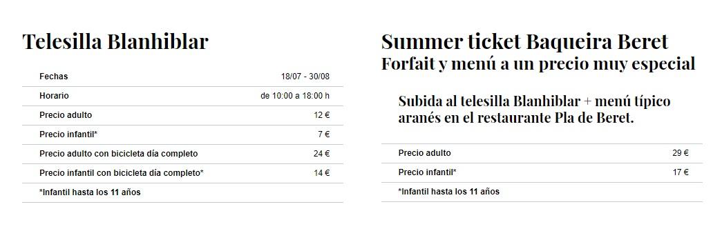 Precios telesilla baqueira verano 20